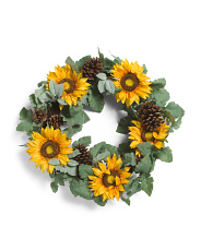 26in Sunflower Pinecone Wreath