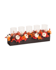 31in Faux Maple Leaves Hurricane Stand