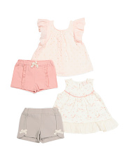 Infant Girls 4pc Mix And Match Unicorn Short Set