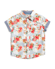 Big Boys Tropical Flower Woven Top