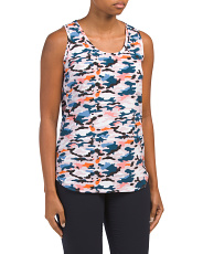 Scoop Neck Printed Woven Tank