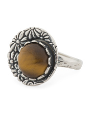 Made In Israel Sterling Silver Tigers Eye Flower Ring