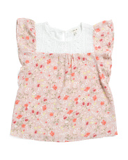 Big Girls Floral Ruffle Top