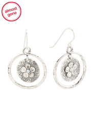 Made In Israel Sterling Silver Pearl Flower Circle Earrings