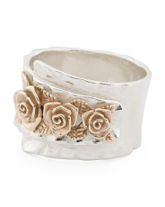 Made In Israel 14k And Sterling Silver Flower Band Ring