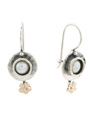 Made In Israel 14k And Sterling Silver Pearl Flower Earrings