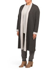 Plus Draped Cashmere Cardigan