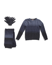 Little Boys 3pc Ombre Sweater Scarf & Glove Set