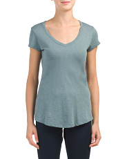 Slub V-neck Shirttail Pima Cotton Tee