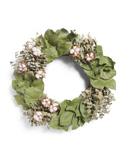 18in Natural Dried Eucalyptus Cotton Wreath
