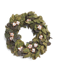 18in Silver Dollar & Cotton Bracket Wreath