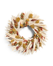 16in Corn Husk Dried Santaka & Chili Safflower Wreath