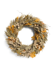 22in Sorghum & Maple Leaves Wreath