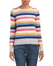 Cashmere Striped Crew Neck Sweater