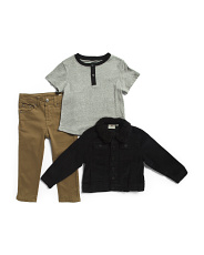 Toddler Boys 3pc Stretch Corduroy Jacket Tee And Jean Set