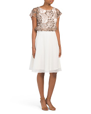 Blouson Dress With Embroidered Lace