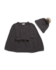 Big Girls Lurex Cable Cape With Hat
