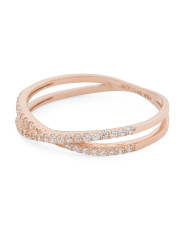 14k Rose Gold Criss Cross Cz Ring