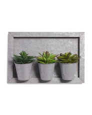 Faux Succulents Galvanized Wall Decor