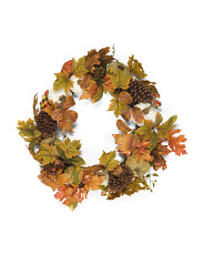 24in Pumpkin Berry Maple Leaves Wreath