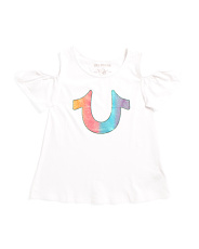 Girls Cold Shoulder Short Sleeve Tee