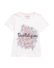 Girls Flower Print Short Sleeve Tee
