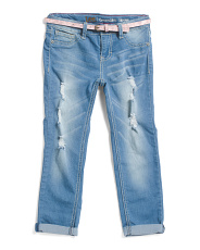 Toddler Girls Belted Destructed Jeans