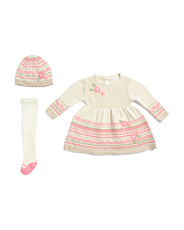 Newborn Girls 3pc Jacquard Sweater Dress With 3d Flowers Tights & Hat