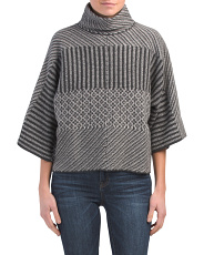 Cashmere Patterned Mock Neck Sweater