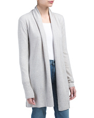 Cashmere Open Cardigan With Rib Detail