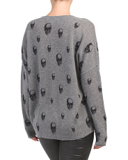 V-neck Cashmere Sweater With Skulls