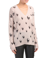 Cashmere V Neck Sweater With Skulls