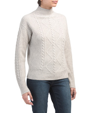 Mock Neck Cable Knit Cashmere Sweater