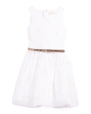 Big Girls Sleeveless Tulle Glitter Dress With Belt