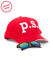 Boys Twill Baseball Cap & Sunglasses Set
