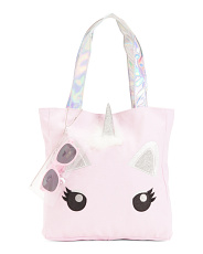 Girls Unicorn Canvas Tote With Sunglasses
