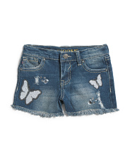 Little Girls White Butterflies Shorts