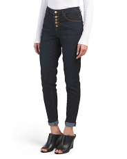 High Rise Button Front Roll Cuff Jeans