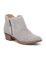 Perforated Ankle Suede Booties