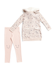 Little Girls Printed Sweater Shirt Dress With Matching Leggings