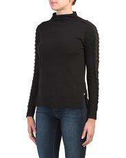 Funnel Neck Sweater With Lace Sleeve Detail