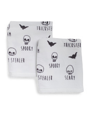 Set Of 2 Sketchy Skulls Hand Towels