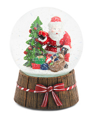 Santa By Tree Musical Snow Globe