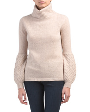 Cashmere Turtleneck Cable Sleeve Sweater