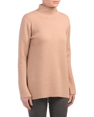Cashmere Blend Mock Neck  Double Knit Tunic Sweater