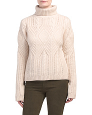 Cashmere Blend Cable Turtleneck Sweater