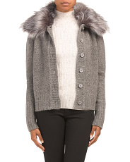 Cashmere Cardigan With Detachable Faux Fur Collar
