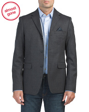 Stretch Flannel Wool Blend Blazer