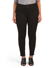 Plus High Waist Triple Button Skinny Jeans