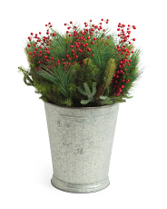 Berry And Pine Cones In Tin Pot